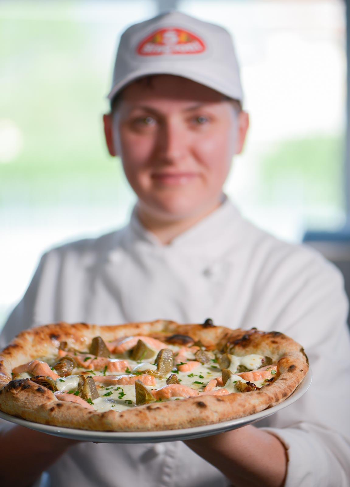 francesca gerbasio e la pizza con trota e carciofi
